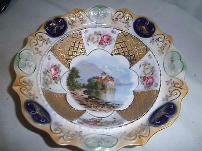 Ipf Germany Porcelain Bowl Signed Weigand With Castle In Center Signed Danile