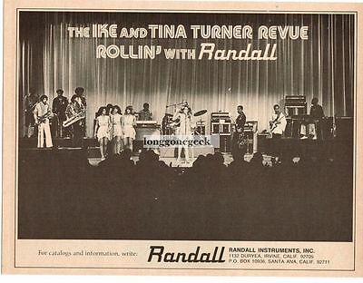 1976 RANDALL Amplifiers IKE and TINA TURNER REVUE Vtg Print Ad