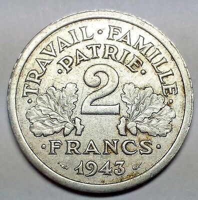 France 1943 Two Francs Vichy French State No Reserve KM #904
