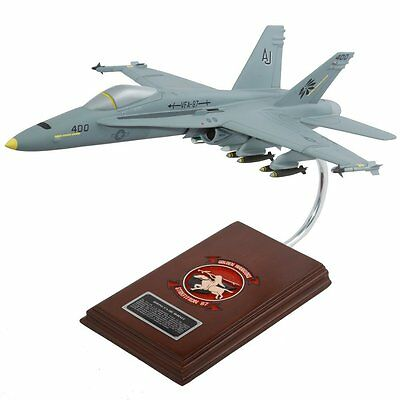 BEAUTIFUL HAND CARVED  F/A-18C HORNET 1/30 NEW IN THE BOX 17.5 x 11.8 x 7