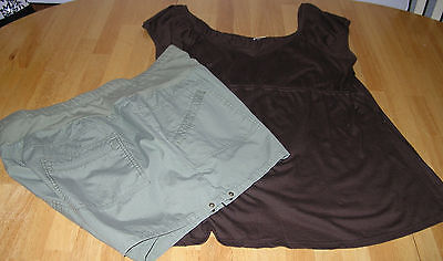 Maternity Shorts Top lot TWO HEARTS khaki green brown knit top size large L