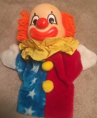 """Clown Puppet Double Sided Shows 2 Emotions Happy Sad 11"""" Collectable"""