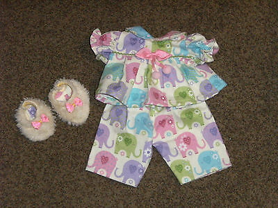 "NEW 16"" Girl Cabbage Patch Doll Clothes~3 pc ELEPHANTS Pajamas & Slippers"