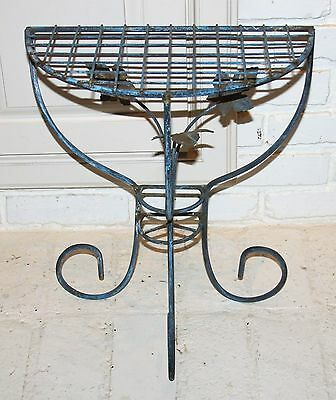 Vintage Wrought Iron Garden Patio Table Chippy Blue Paint