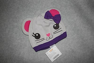 New Baby Girl Gymboree Purple Polka Dot Mousing Around Knit Hat 0 6 12 Mo