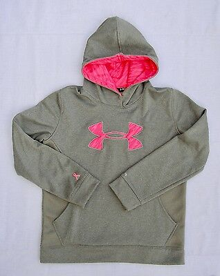 Under Armour Sweatshirt Hoodie Youth Large Breast Cancer Awareness Gray & Pink