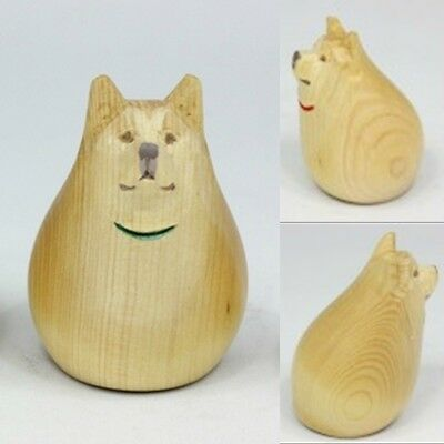 Akita dog wooden statue Osuwari made in Japan