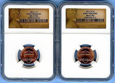 2011 P&D  Lincoln Shield Cent Set NGC MS67RD (Early Release) 1C Lot of 2