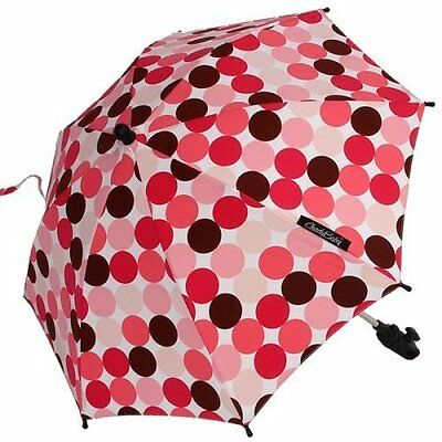 Pink-Brown Polka Dots Stroller Parasol SPF 50 Stroller Umbrella 24 Diameter, New