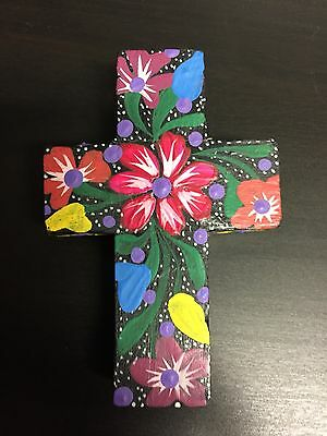 Mexican wooden cross handpainted in oaxaca mexico (magnet)