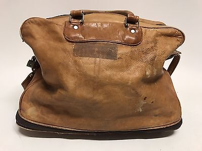 Vintage Doctor's Expandable Medical Bag Brown Leather Apothecary Bag On Wheels