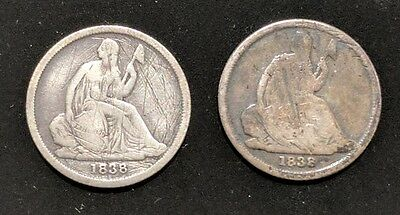 Two 1838-O Seated Liberty Dimes - Type 1 No Stars