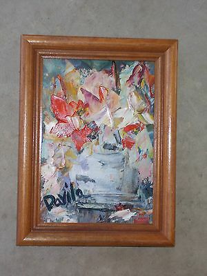 "Original ""golden Abstract Floral"" Impasto Oil Painting By Us Artist, Signed 5X7"""
