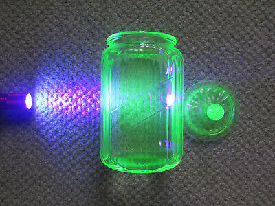 LARGE CITRINE URANIUM GLASS KITCHEN LIDDED JAR c1930s AUSTRALIAN MADE