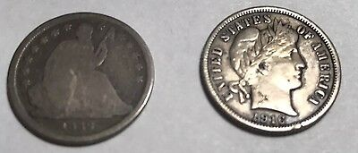 1839 Seated Liberty dime and 1916 Barber Dime