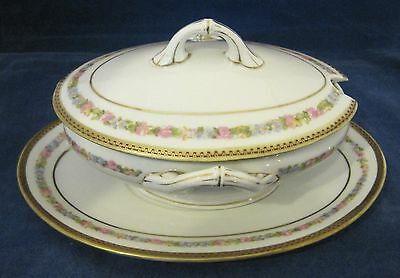 M&Z Austria Carlsbad 3PC Oval Tureen Vegetable Sauce Pink Roses Blue Flowers SHP