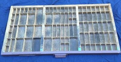 "Vintage HAMILTON Printers Type Drawer Shadow Box Wood Tray 89 Holes 32""x16"""