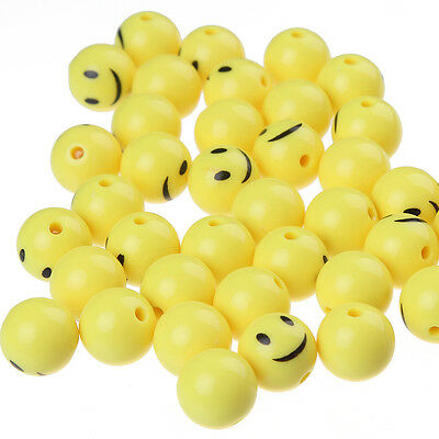 50pcs 12mm Yellow Emoji Smile Emoticons Acrylic Round Beads DIY Jewelry Making