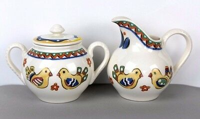 Creamer and Sugar Bowl Lidded Sierra Chicks and Leaves Earthenware Franciscan