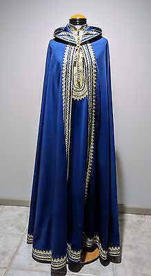 Vintage 60's Embroidered Moroccan Caftan Chemise Dress Matching Burnoose Cape