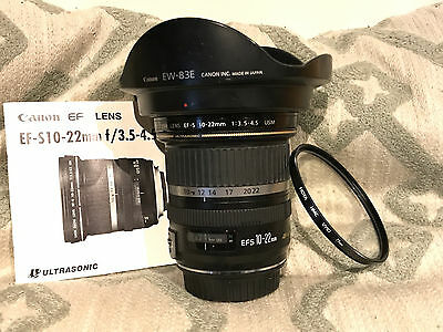 Canon EF-S 10-22mm f/3.5-4.5 USM Wide Angle DSLR camera Lens + hood & filter