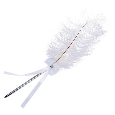 SY Bowknot Wedding Signing Pen White Ostrich Feather Pen with Diamante