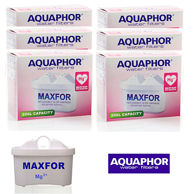 6 AQUAPHOR Mg2+ Jug Replacement Cartridges Standard Size Enriched With Magnesium