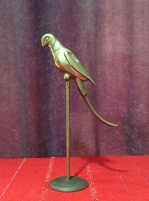Vintage Collectable Large Brass Parrot on Perch