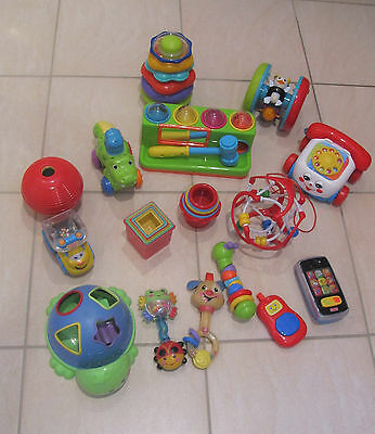 Huge Bulk Lot Baby Toddler Toys - Fisher Price Playskool - 16 Items - 6 Months +