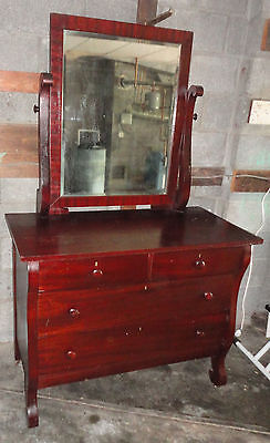 Antique Two Over Four Drawer Dresser With Mirror