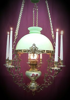 Antique Oil Lamp French Figural Chandelier Victorian Hanging Candelabra Majolica