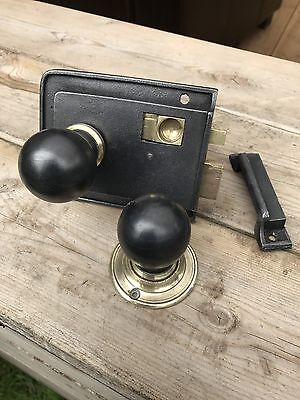 Reclaimed Vintage Cast Iron Rim Lock, Wooden Knobs And Keep