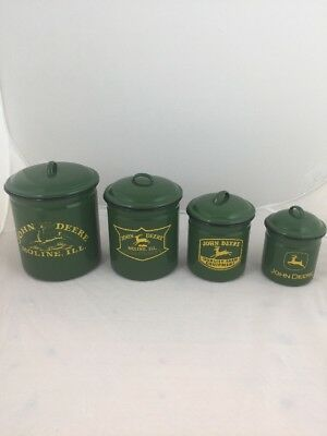 John Deere Green Metal Produce Kitchen Canisters Set For Flour, Cookies...
