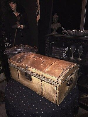 18th C. Dome Top Chest Antique Hide Fur Covered Studded Trunk with old Hardware