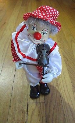 Clown Doll Figurine - Fiddle Violin - Wind-Up - Dancing - Music - Moves -