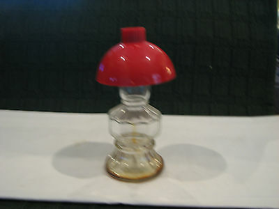 Vintage Glass Perfume Bottle With Cellulid Lamp Shade, Original