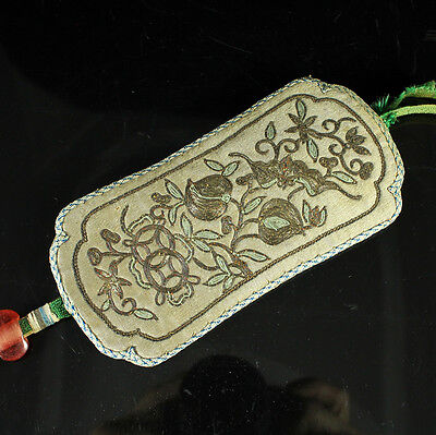 V. Fine 19/20Thc Chinese Embroidered Silk Cover Bat Peach Gold Stitch Embroidery