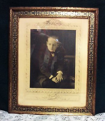 Antique Vintage Wood Picture Frame w/ Old Picture Marked Lumart