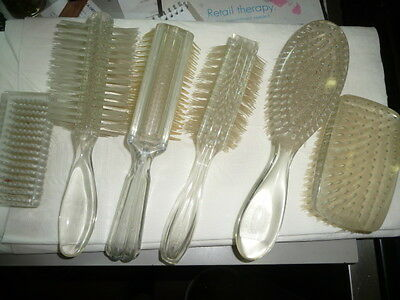 6 pieces EMPIRE Lucite Hair BRUSH Collection Vintage Brushes