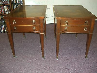 Two Vintage Imperial Mahogany Leather Top Side / End Tables 1950's N/R