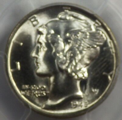 "1945 Mercury Dime PCGS MS66    ""VERY NEARLY FULL BANDS"""