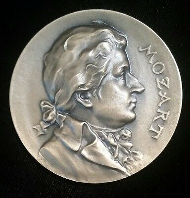 Large French Wolfgang Amadeus Mozart Bronze Medal Composer Coin Token Music