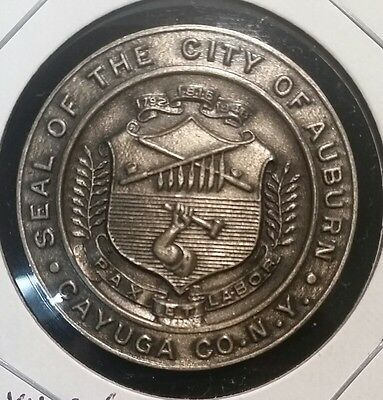 Seal Of The City Of Auburn Ny Medal Coin Token New York Cayuga County Great Co.