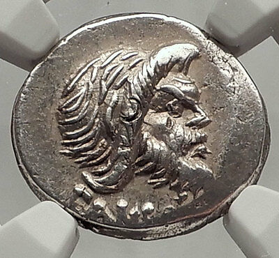 Roman Republic 48BC Rome Authentic Ancient Silver Coin PAN JUPITER NGC i62465