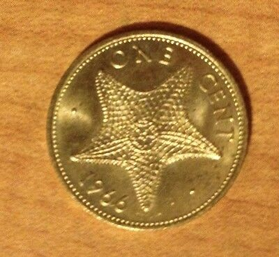 1966 Bahamas 1 One Cent Starfish Coin
