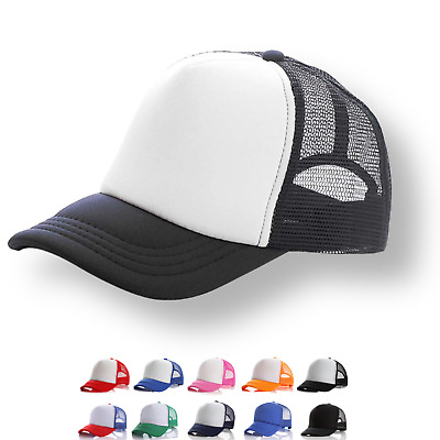 Plain Trucker Hat Cap - Unisex Adjustable Mesh Baseball - Various Colours
