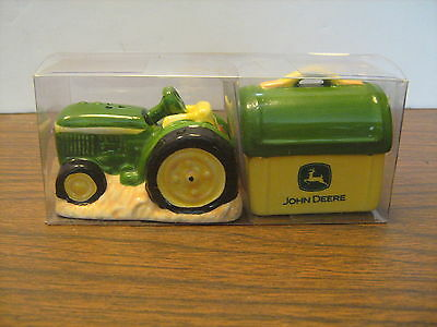 John Deere Salt and Pepper Shakers, Tractor and Lunchpail, Unused