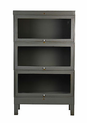 Vintage Industrial Steel Barrister Stacking Bookcase Cabinet 3 Sections