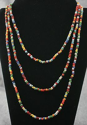 "GLASS INDIAN TRADE BEAD NECKLACE - Multi Color 4mm - 70"" Long"
