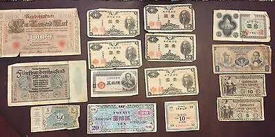 Vintage Currency Military Japan Italy China Columbia Berlin 1910-1950s